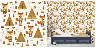 wall paper for kids foxes tents