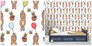 wall paper for kids teddybears with bumble bees