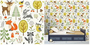 wall paper for kids with bunnies owls raccoons