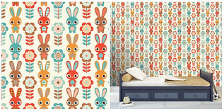 wall paper for kids with bunnies and flowers