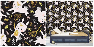 wall paper for kids with bunnies