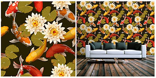 wallpaper containing exotic goldfish, lillies