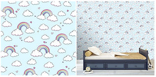 wall paper for kids with rainbows and clouds