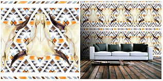wallpaper geometric shapes cows skull