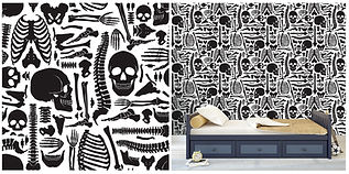 wall paper for teens skeleton pattern