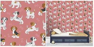 wall paper for kids with puppies and dog bones