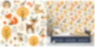 wallpaper with deers and bunnies and birds and trees