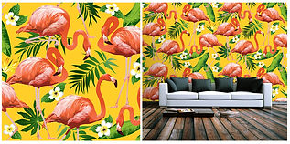 wallpaper containing flamingo's and palms