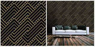 wallpaper geometric shapes pattern black gold
