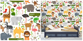 wall paper for kids with jungle animals