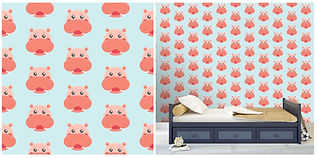 wall paper for kids with pink hippopotamus