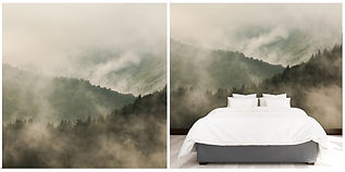 wallpaper mountains mist trees clouds