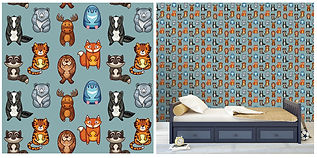 wall paper for kids bears tigers moose foxes raccoons
