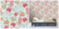 wall paper for kids with whales goldfish crabs starfish