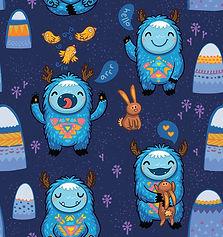 wallpaper, kids room, monsters, bunny