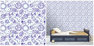 wall paper for kids spaceship astronaut planets