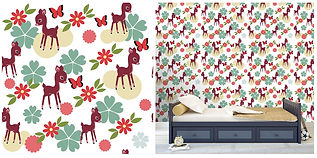 wall paper for kids with deers flowers
