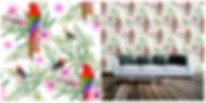 wallpaper containing exotic birds, parrots, flowers