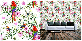 wallpaper containing exotic birds, parrots, flowers