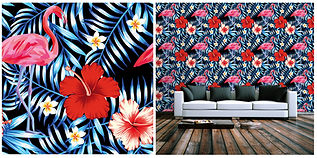wallpaper containing flowers and palms red blue