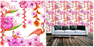 wallpaper containing flamingo's and flowers, pink