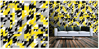 wallpaper geometric shapes pattern yellow