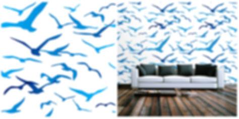 wallpaper containing seagulls, blue
