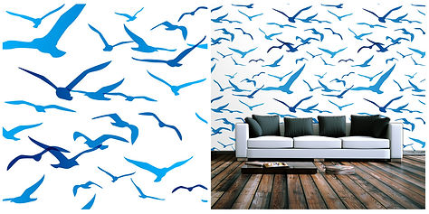 wallpaper containing seagulls, blue