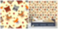 wall paper for kids with raccoons deers foxes owls
