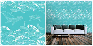 wallpaper with whales, waves, blue