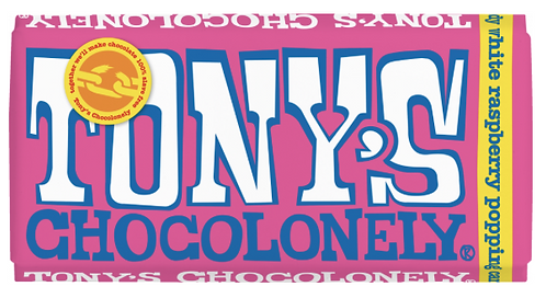 Tony's Chocolonely 28% White Chocolate Raspberry Popping Candy