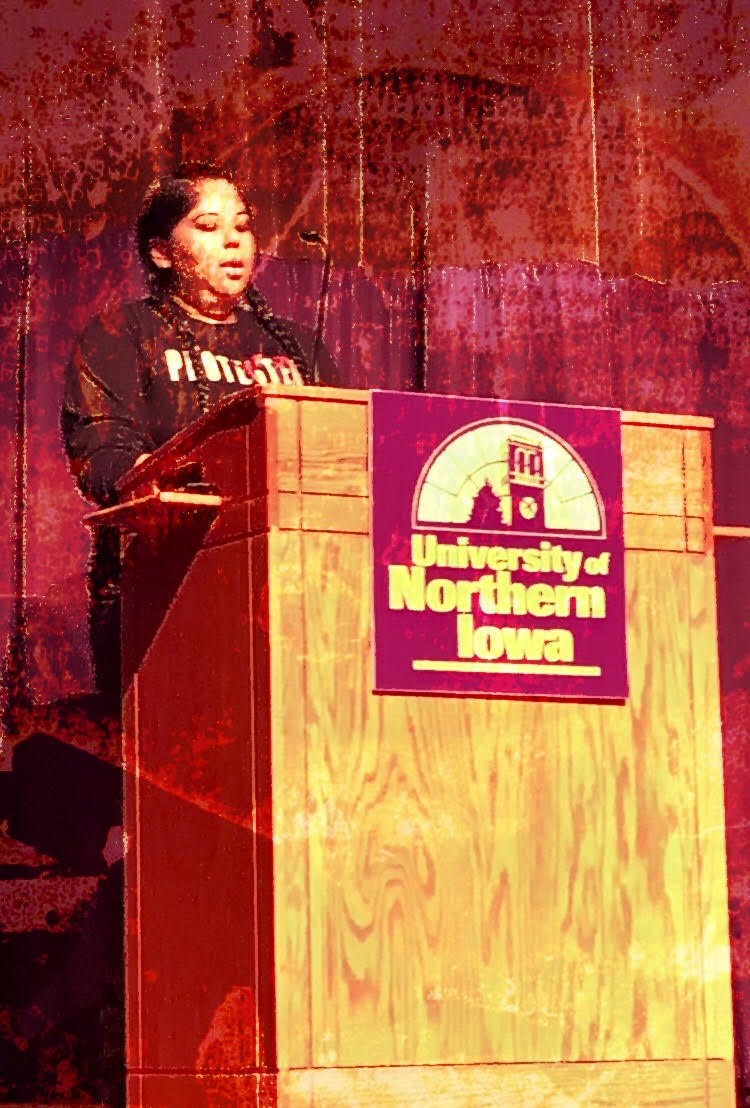 Trisha, speaking at Northern Iowa University in the fall of 2018, where she received her BA in Psychology about the Dakota Access Pipeline.