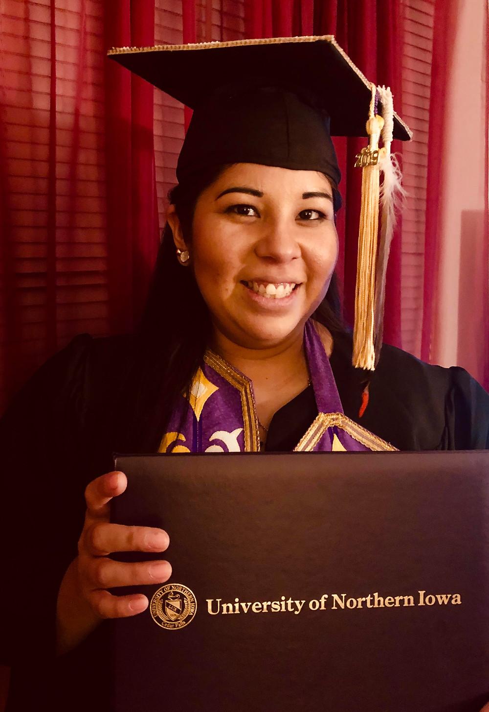 Trisha Caxsep Guwiga Etringer at her graduation ceremony at the University of Northern Iowa in Spring 2019