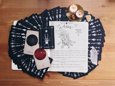 Tarot Spread for New Moon in Aries + Mercury Direct in Aries