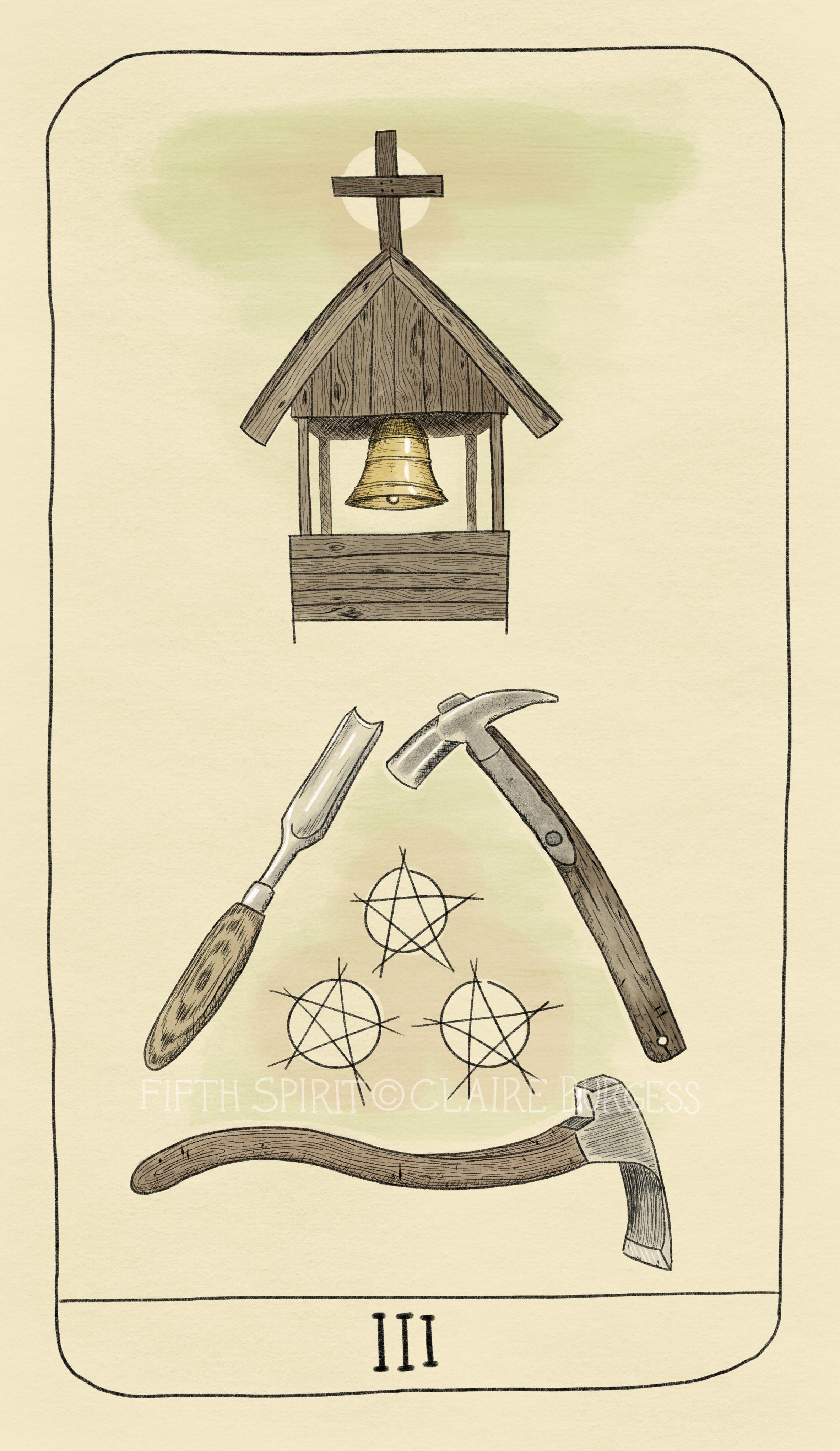 3 of Pentacles Fifth Spirit Tarot