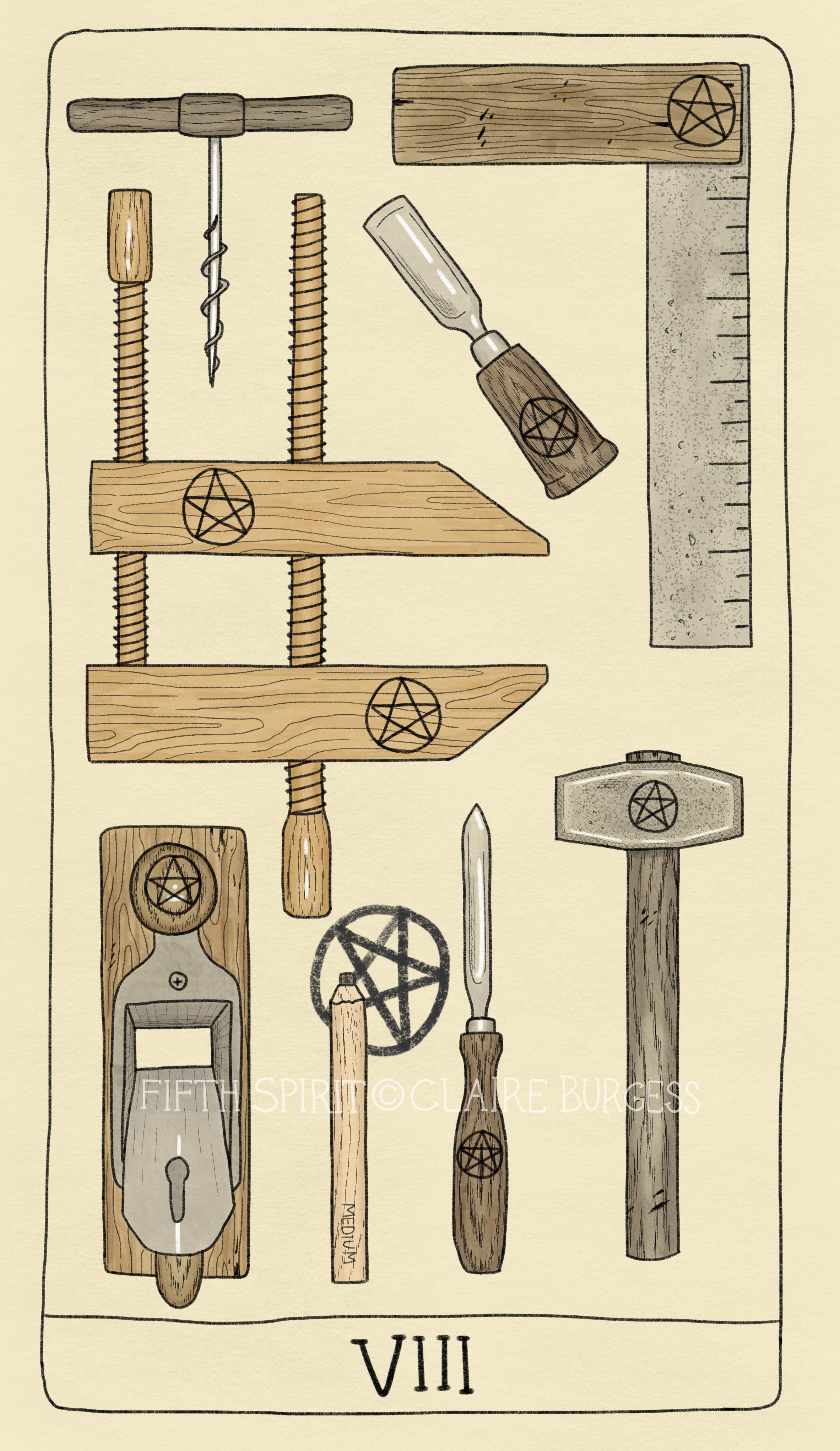 8 of Pentacles Fifth Spirit Tarot