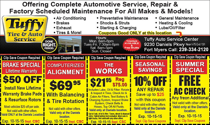 Tuffy Tire & Auto in Fort Myers on Daniels Parkway. Clip Save Coupons ad