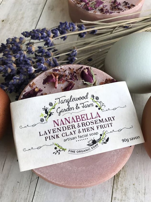 Nanabella: Lavendar & Rosemary with Pink Clay and Hen Fruit Facial Soap