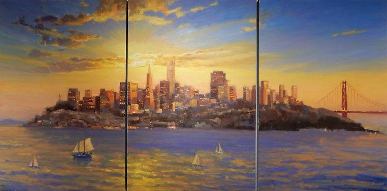 Twilight in the Bay h36 w72 (triptych).j