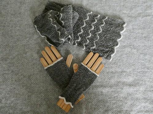 Shetland Lace Scarf and Handwarmer set