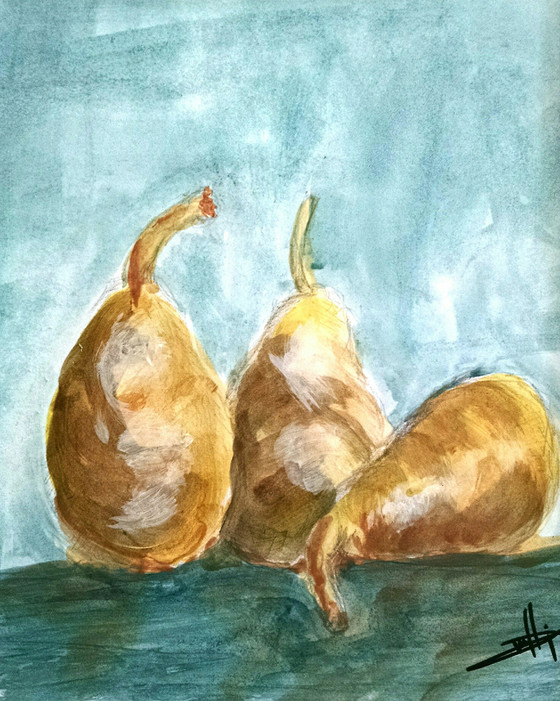 Pears - Acrylic Was on Paper