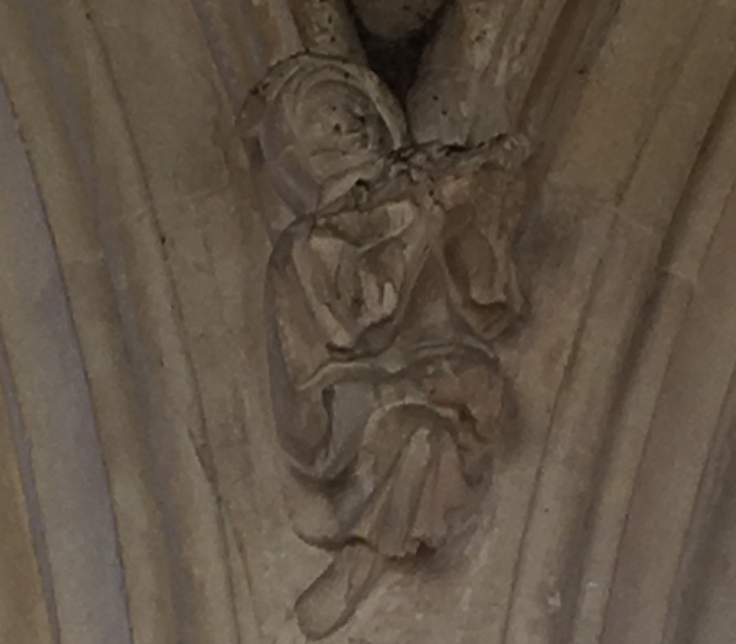 Another Cley minstrel. It is really hard to see in this blurry image, but in the stony flesh this was very obviously a magnificent citole player.