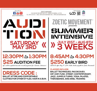 AUDITIONS for Summer Intensive - May 3rd, 2014