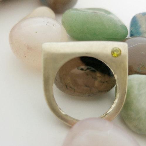 טבעת כסף חצי עגולה