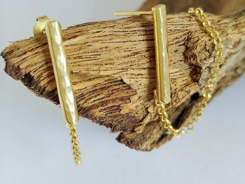 עגילי קו עם שרשרת