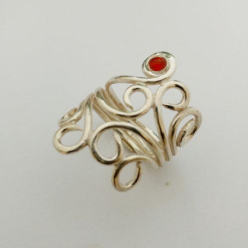 טבעת גפן כסף ושיבוץ
