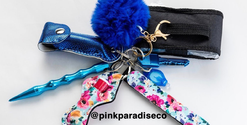 Blue Flowers Keychain