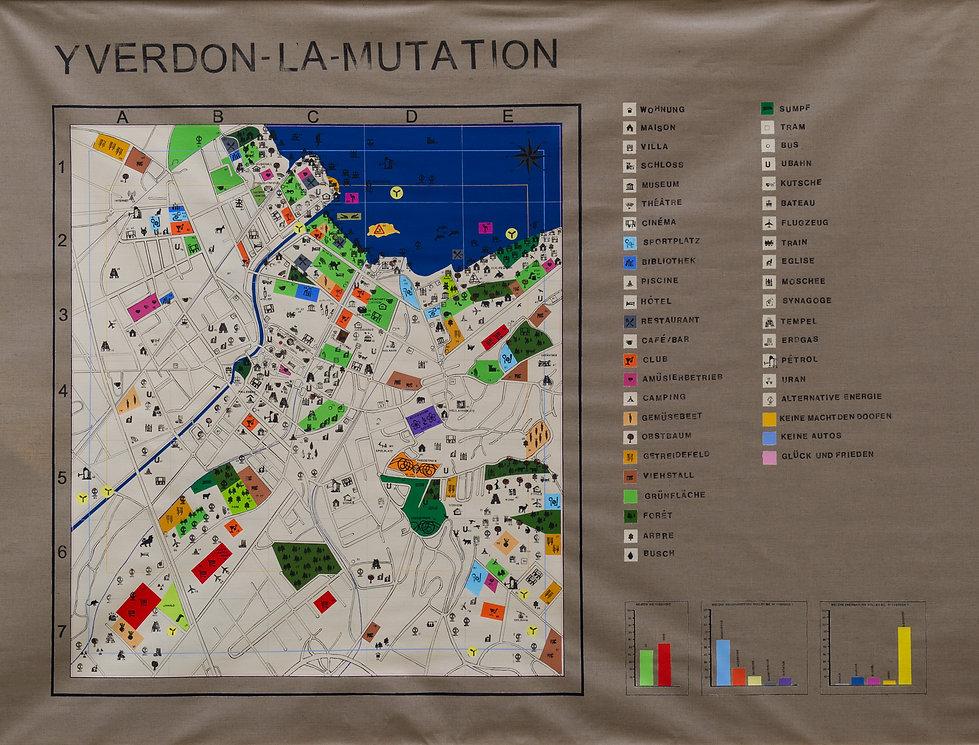 yverdon la mutation, map, painting, stamp, mia diener