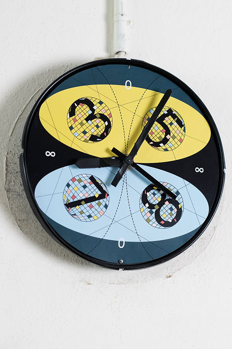 Time Decoder, clock, digitalprint, monotypie, monotype, acryl, mixed media, world, numbers, lines, pencil, collage, contemporary art, mia diener, system