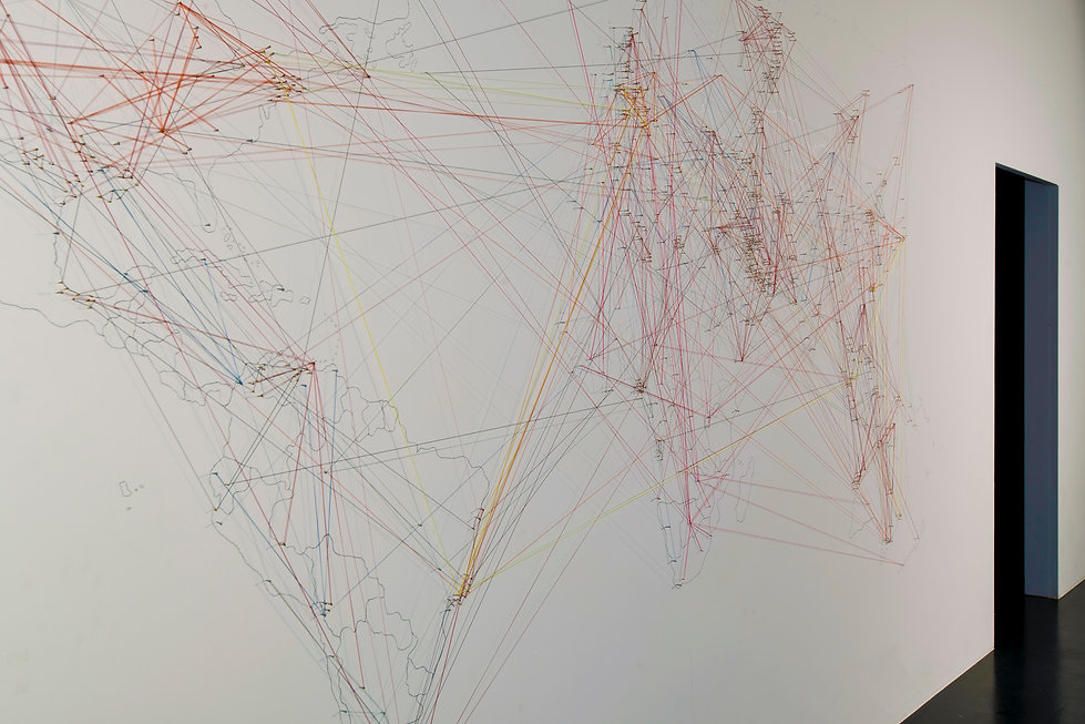 world of fuzzy, installation, drawing, world map, nails, fishing line, shifting, mia diener